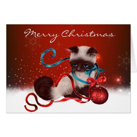 Siamesische Kätzchen-Weihnachtskarte Grußkarte
