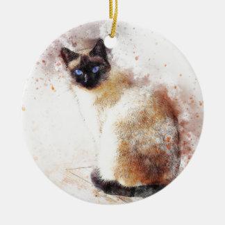 Siamesische Katzen-abstrakte Elemente Keramik Ornament