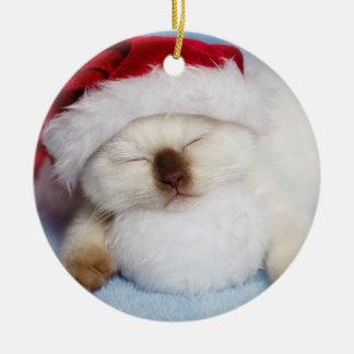 Siamesisches Kätzchen: Feiertag Nickerchen machend Keramik Ornament