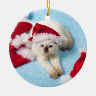 Siamesisches Kätzchen: Weihnachtsmannmützen Keramik Ornament