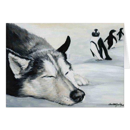 """""""Sibirier Huskeys Penquin Traum-"""" Hundekunst-Gruß Karte"""