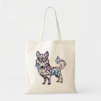 Sibirischer Schlittenhund - farbige Taschen-Tasche Tragetasche
