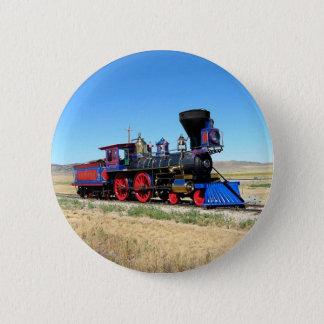 Sich fortbewegendes Dampf-Motor-Zug-Foto Runder Button 5,7 Cm