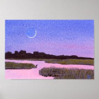 Sichelförmiger Mond-Sumpf u. Reiher Poster