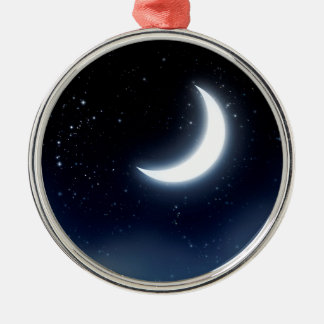 Sichelförmiger Mond über sternenklarem Sky2 Silbernes Ornament