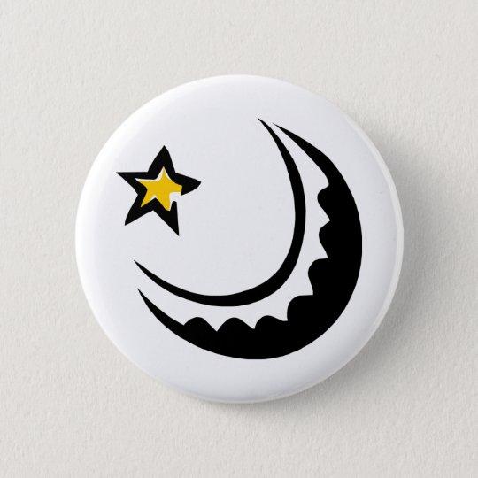 Sichelförmiger Mondund SternSwoosh Runder Button 5,7 Cm