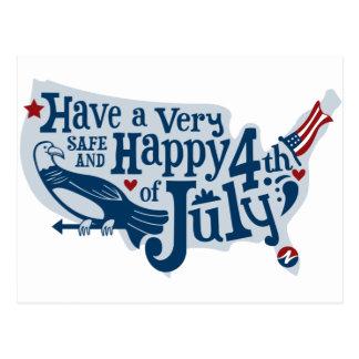Sicher und glücklich Juli 4. Postkarte