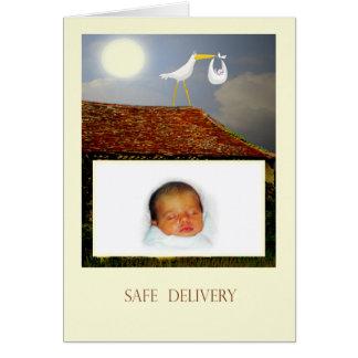 Sichere Lieferung, Storch und Baby, Karte