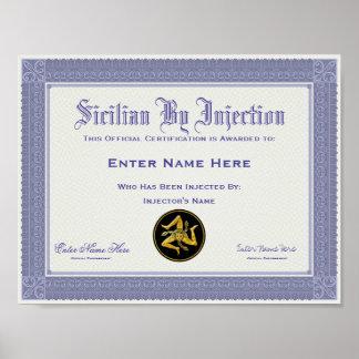 Sicilien par la certification d'injection drôle