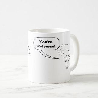 """Sie des weiblichen Koch """"sind willkommen!"""" Kaffeetasse"""