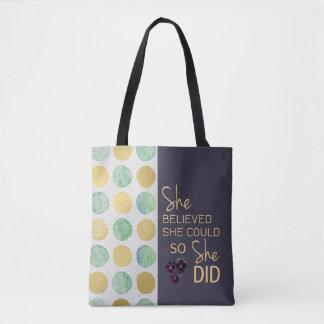 Sie glaubte, dass sie (die Polka-Punkte lila) Tasche