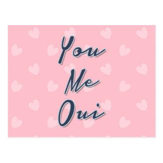Sie ich Oui, Liebe-Zitat, rosa Herz-Muster Postkarte