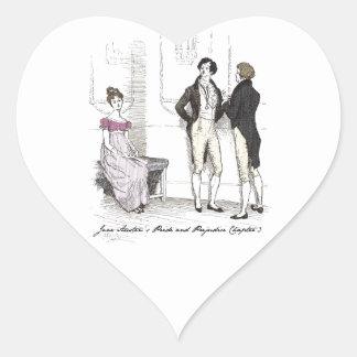 Sie ist erträgliches… Jane Austen P&P CH3 Herz-Aufkleber