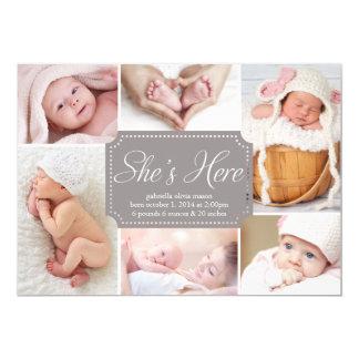 Sie ist hier | Geburts-Mitteilung 12,7 X 17,8 Cm Einladungskarte