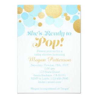 Sie ist zum Pop bereit! Blau und Gold 12,7 X 17,8 Cm Einladungskarte