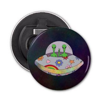 Sie kommen in Friedens-UFO Flaschenöffner