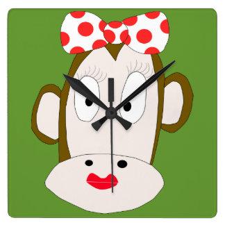 Sie Monkey quadratische Uhr