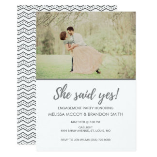 Sie sagte ja Foto-Verlobungs-Party 12,7 X 17,8 Cm Einladungskarte