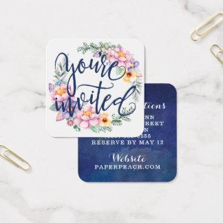 Sie sind eingeladene Blumenmarine-Kranz-Umbauten Quadratische Visitenkarte