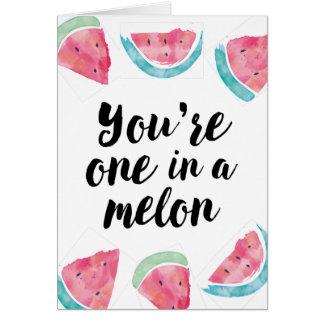 Sie sind eins in einem Melonegeburtstag Grußkarte