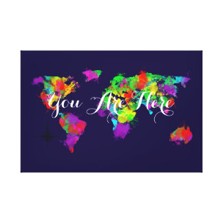 Sie sind hier bunte Weltkarte Leinwanddrucke