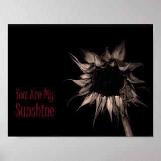 Sie sind mein Sonnenschein-Sonnenblume-elegantes Poster
