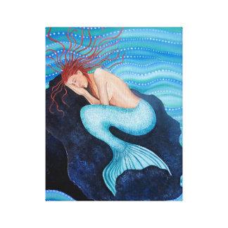 Sie träumt Seetraum-Meerjungfrau eingewickelte Leinwanddruck