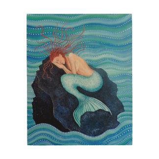 Sie träumt Seetraum-Meerjungfrau-hölzerne Holzdruck