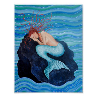 Sie träumt Seetraum-Meerjungfrau-Plakat Poster