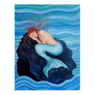 Sie träumt Seetraum-Meerjungfrau-Postkarte Postkarte