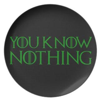 Sie wissen nichts in einem dunkelgrünen Schriftart Essteller