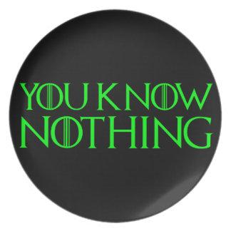 Sie wissen nichts in einem hellgrünen Schriftart Melaminteller