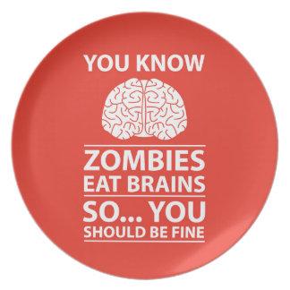 Sie wissen - Zombies essen Gehirn-Witz Melaminteller