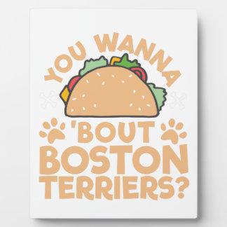 Sie wollen zu Taco-Kampf-Boston-Terriern? Fotoplatte