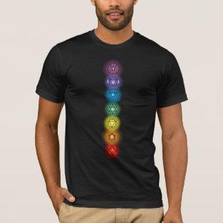 Sieben Chakras amerikanischer Kleiderschwarz-T - T-Shirt