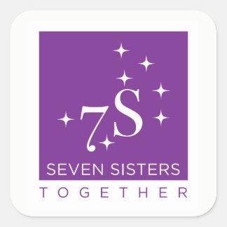 Sieben Schwester-zusammen Aufkleber-Blatt - 6 Quadratischer Aufkleber