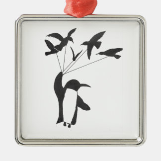 Siegreicher Pinguin Silbernes Ornament