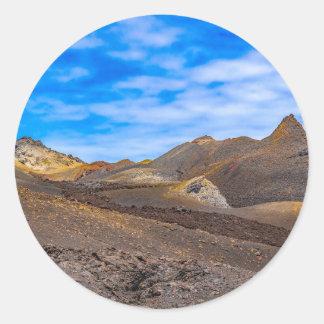 Sierra Negra Landschaft, Galapagos, Ecuador Runder Aufkleber