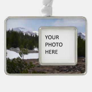 Sierra Nevadaberge und -schnee bei Yosemite Rahmen-Ornament Silber