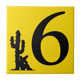 Siesta durch Kaktus Gelb-heiße Zahl 6 sechs Fliese