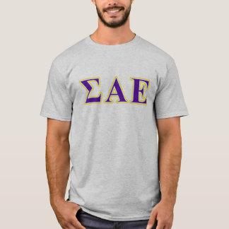 Sigma-Alpha lila und gelbe Epsilonbuchstaben T-Shirt