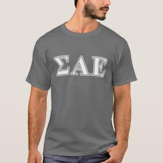 Sigma-Alpha weiße und lila Epsilonbuchstaben T-Shirt