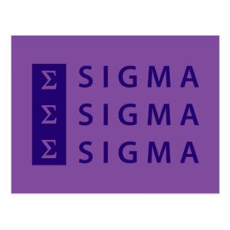 Sigma-Sigma-Sigma gestapelt Postkarte