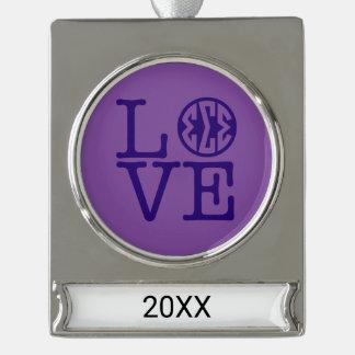 Sigma-Sigma-Sigma-Liebe Banner-Ornament Silber