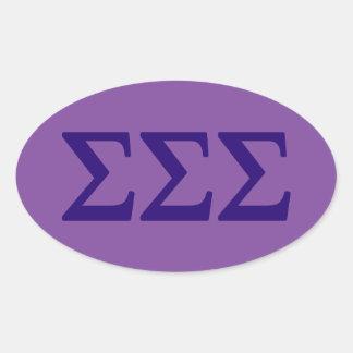 Sigma-Sigma-Sigma Lil großes Logo Ovaler Aufkleber