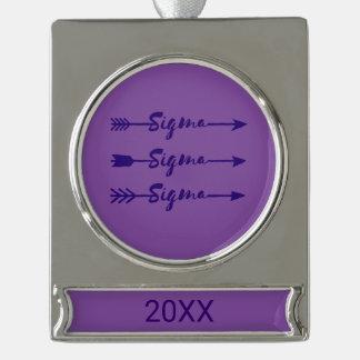 Sigma-Sigma-Sigma-Pfeil Banner-Ornament Silber