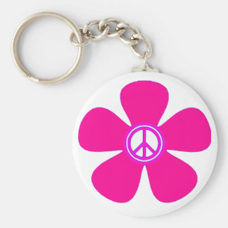 Signe de paix de flower power porte-clé rond