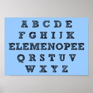 Signe drôle d'affiche d'alphabet d'Elemenopee Poster