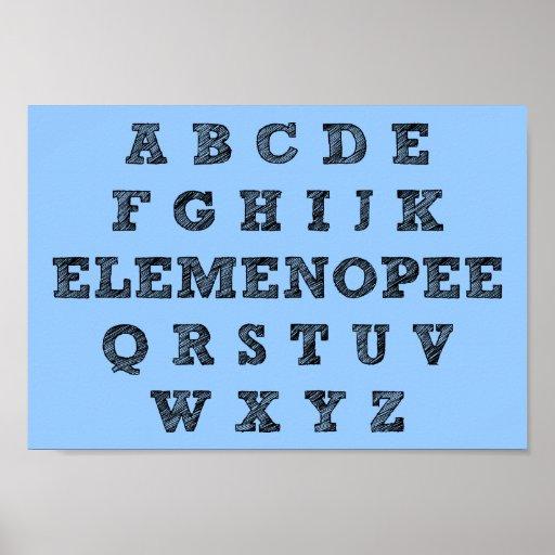 Signe drôle d'affiche d'alphabet d'Elemenopee