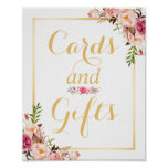 Signe floral de mariage de cadre d'or de carte et